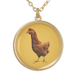 Rhode Island Red Hen Chicken Necklace