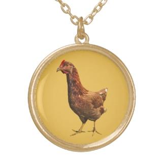 Rhode Island Red Hen Chicken Necklace