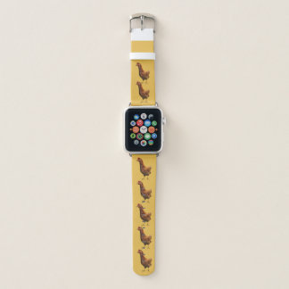 Rhode Island Red Hen Chicken on Yellow Apple Watch Band