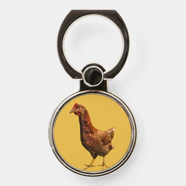 Rhode Island Red Hen Chicken Phone Ring Grip