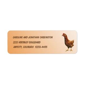 Rhode Island Red Hen Chicken Return Address Label