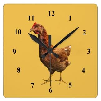 Rhode Island Red Hen Chicken Wall Clock