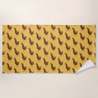 Rhode Island Red Hen Chicken Yellow Beach Towel