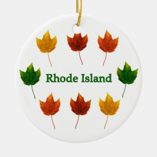 Rhode Island (red maple leaves) Ceramic Ornament