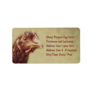 Rhode Island Red Pullet - Chicken Picture Address Label