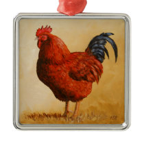 Rhode Island Red Rooster Chicken Metal Ornament