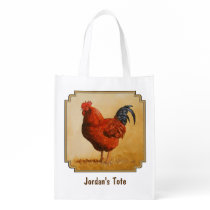 Rhode Island Red Rooster Chicken Reusable Grocery Bag