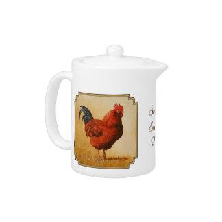 Rhode Island Red Rooster Chicken Teapot