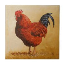 Rhode Island Red Rooster Chicken Tile