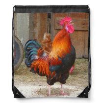 Rhode Island Red Rooster Crowing in Barnyard Drawstring Bag