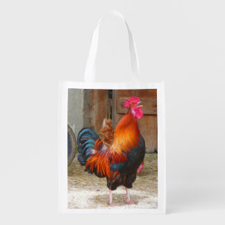 Rhode Island Red Rooster Crowing in Barnyard Grocery Bag