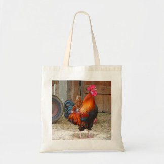 Rhode Island Red Rooster Crowing in Barnyard Tote Bag