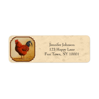 Rhode Island Red Rooster Label