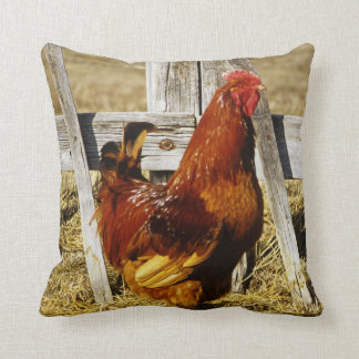 Rhode Island Red Rooster Throw Pillow