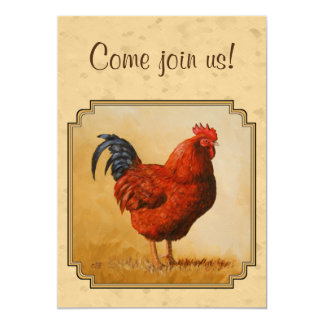 Rhode Island Red Rooster Yellow Background Card