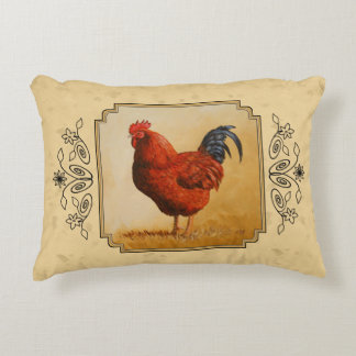 Rhode Island Red Rooster Yellow Background Decorative Pillow
