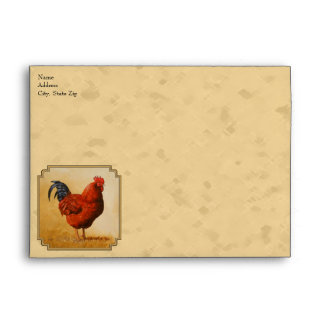 Rhode Island Red Rooster Yellow Background Envelope