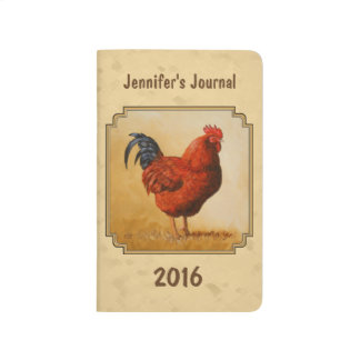 Rhode Island Red Rooster Yellow Background Journal