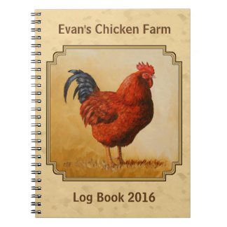 Rhode Island Red Rooster Yellow Background Notebook