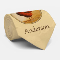 Rhode Island Red Rooster Yellow Background Tie