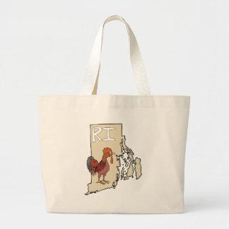 Rhode Island RI Map & Cartoon Red Chicken Art Bag