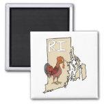 Rhode Island RI Map & Cartoon Red Chicken Art Magnet