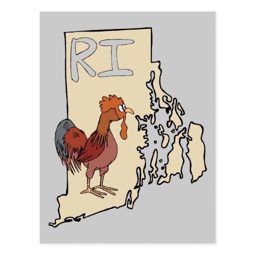Rhode Island RI Map & Cartoon Red Chicken Art Postcard