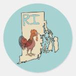 Rhode Island RI Map & Cartoon Red Chicken Art Round Stickers