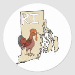 Rhode Island RI Map & Cartoon Red Chicken Art Stickers