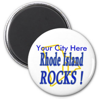 Rhode Island Rocks ! 2 Inch Round Magnet