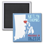Rhode Island Save the Date - Customizable City 2 Inch Square Magnet