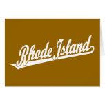 Rhode Island script logo in white Cards