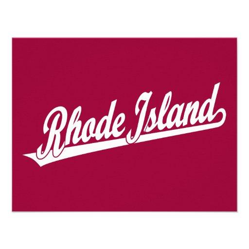 Rhode Island script logo in white Custom Announcements