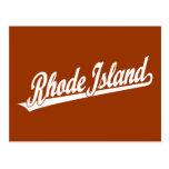 Rhode Island script logo in white Post Card