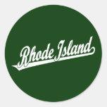Rhode Island script logo in white Round Stickers