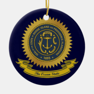 Rhode Island Seal Ceramic Ornament