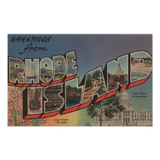Rhode Island (State Capital/Flower) Poster