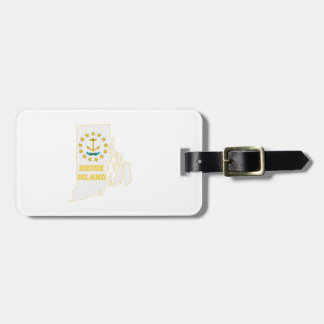 Rhode Island State Flag and Map Bag Tag