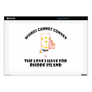 """Rhode Island state flag and map designs 17"""" Laptop Skins"""