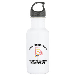 Rhode Island state flag and map designs Stainless Steel Water Bottle