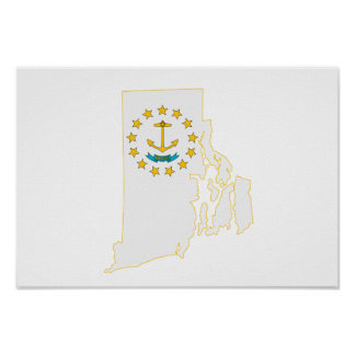 Rhode Island State Flag and Map Poster