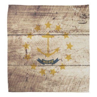 Rhode Island State Flag on Old Wood Grain Bandana