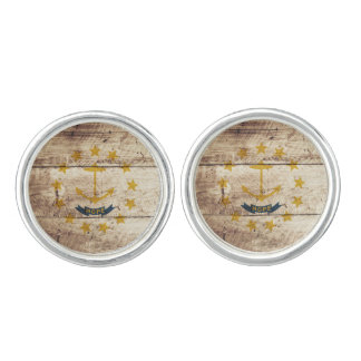 Rhode Island State Flag on Old Wood Grain Cufflinks
