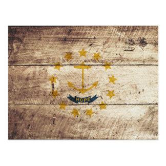 Rhode Island State Flag on Old Wood Grain Postcard