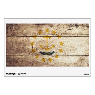 Rhode Island State Flag on Old Wood Grain Room Sticker
