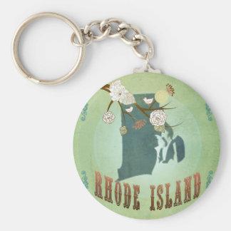 Rhode Island State Map – Green Key Chain