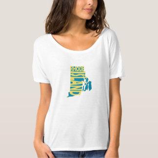 Rhode Island State Name Word Art Yellow T-Shirt