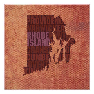 Rhode Island State Outline Word Map on Canvas Poster
