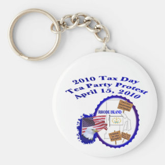 Rhode Island Tax Day Tea Party Protest Keychain