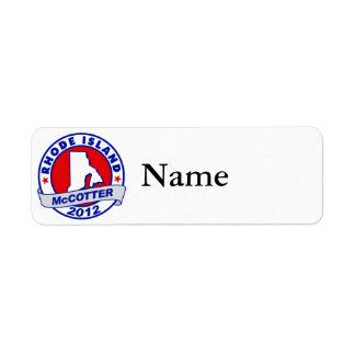 Rhode Island Thad McCotter Return Address Labels
